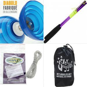 Cirque  HENRYS Diabolo Beach Free Bleu + Baguettes Alu Violet + 10m Ficelle Blanc + Sac
