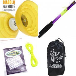 Cirque  HENRYS Diabolo Beach Free Jaune + Baguettes Alu Violet + 10m Ficelle Jaune + Sac