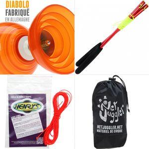 Cirque  HENRYS Diabolo Beach Free Orange + Baguettes Alu Rouge + 10m Ficelle Orange + Sac
