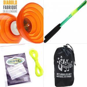 Cirque  HENRYS Diabolo Beach Free Orange + Baguettes Alu Vert + 10m Ficelle Jaune + Sac