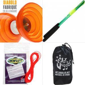 Cirque  HENRYS Diabolo Beach Free Orange + Baguettes Alu Vert + 10m Ficelle Orange + Sac