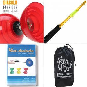 Cirque  HENRYS Diabolo Beach Free Rouge + Baguettes Alu  doré + DVD + Sac