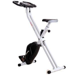 HOMCOM Vélo d'appartement cardio Fitness pliable écran LCD 8 niveaux de résistance selle réglable noir