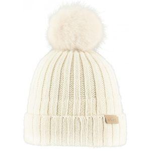 Ski fille BART'S BARTS-Bonnet blanc ivoire coton et cashmere à pompon imitation fourrure du 4 au 12 ans modèle linda Barts