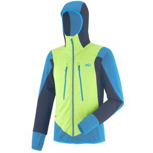All mountain homme MILLET Veste EXTREME RUTOR ALPHA COMPO HOODIE Acid Green/Teal Blue - Homme - Ski de randonnée