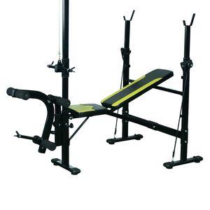 Musculation  HOMCOM Banc de musculation Fitness entrainement complet dossier réglable cordes traction curler supports barre et haltères noir et jaune neuf 34