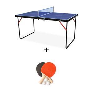ALICE'S GARDEN Mini table de ping pong pliable INDOOR Sapporo bleue, avec 2 raquettes et 3 balles, tennis de table