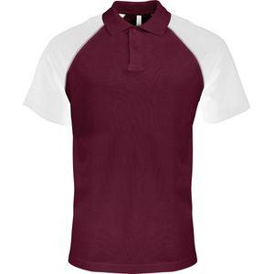 Mode- Lifestyle homme KARIBAN Polo bicolore baseball homme - K226 - rouge bordeau - blanc - manches courtes