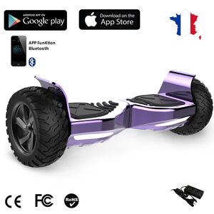 Glisse urbaine  EVERCROSS EVERCROSS Hoverboard Challenger G2 8.5 pouces,  Gyropode Overboard SUV Hummer Tout Terrain avec Bluetooth, Violet