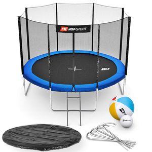 HS HOP SPORT HS Hop-Sport Trampoline rond de jardin 305 cm/4pieds avec filet extérieur; échelle; bâche de protection (Bleu)