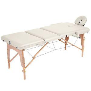 Fitness homme AUTRE Table de massage pliante 3 zones crème Helloshop26 2001013