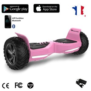 Glisse urbaine  EVERCROSS EVERCROSS Hoverboard Challenger G2 8.5 pouces,  Gyropode Overboard SUV Hummer Tout Terrain avec Bluetooth, Rose