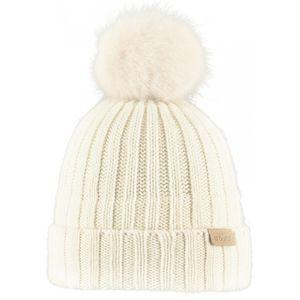 Ski fille BART'S BARTS-Bonnet blanc coton et cashmere ivoire à pompon imitation fourrure du 4 au 12 ans modèle linda Barts