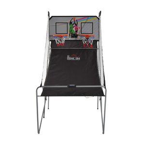Basket ball  HOMCOM Panier de Basket pliable jeu de Basketball Arcade Double Shootout double panier compteur électronique 4 ballons et pompe acier noir et blanc neuf 17