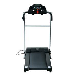 Fitness  HOMCOM Tapis roulant électrique de course tapis de course pliant 440 W 1-10 Km/H écran LCD multifonctions support iPad acier noir argent neuf 17SR