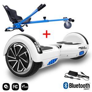 MEGA MOTION Mega Motion Hoverboard bluetooth 6.5 pouces, M1 Blanc + Hoverkart bleu, Gyropode Overboard Smart Scooter certifié, Kit kart