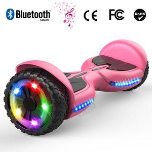 Glisse urbaine  COOL&FUN Hoverboard bluetooth tout terrain 6.5 pouces, scooter gyropode Roues lumineuses à LED de nouvelle génération Q3, rose