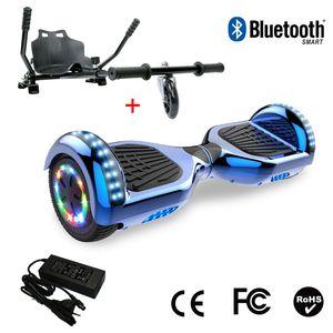 Glisse urbaine  COOL&FUN Cool&Fun Hoverboard 6.5 Pouces avec Bluetooth Bleu + Hoverkart Noir, Gyropode Overboard Smart Scooter certifié, Pneu à LED de couleur, Kit kart