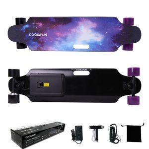 Glisse urbaine  COOL&FUN COOL&FUN Longboard Skateboard Électrique 4 Roues, Planche à Roulettes, Batterie LG avec télécommande, Design d'étoiles