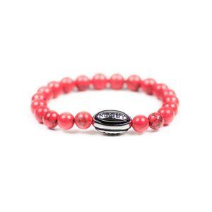 ELEGANT VIOLENCE RUGBY Bracelet rugby - Premium Rugby Life Bracelet - rouge corail/argent - Elegant Violence Rugby -