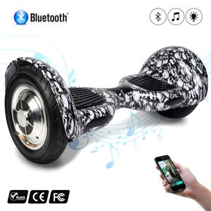 Glisse urbaine  COOL&FUN COOL&FUN Hoverboard 10 pouces avec Bluetooth, Gyropode  Overboard Smart Scooter, Tête De Mort Noir