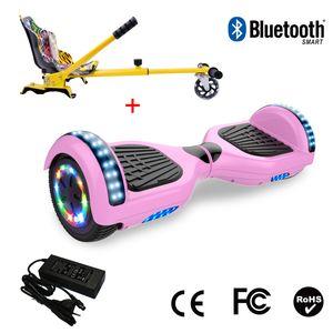 Glisse urbaine  COOL&FUN Cool&Fun Hoverboard 6.5 Pouces avec Bluetooth Rose + Hoverkart Hip, Gyropode Overboard Smart Scooter certifié, Pneu à LED de couleur, Kit kart