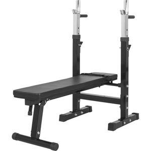 Musculation  GORILLA Gorilla Sports - Banc de musculation GS006 + Set d'haltères disques en plastiques et barres 70KG