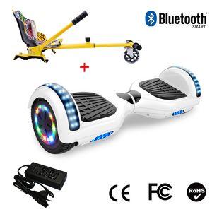 Glisse urbaine  COOL&FUN Cool&Fun Hoverboard 6.5 Pouces avec Bluetooth Blanc + Hoverkart Hip, Gyropode Overboard Smart Scooter certifié, Pneu à LED de couleur, Kit kart