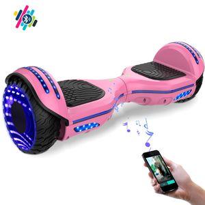 Glisse urbaine  COOL&FUN COOL&FUN Hoverboard Bluetooth 6.5 pouces, Gyropode Overboard avec Roues lumineuses à LED de couleur et Bande de LED, Rose