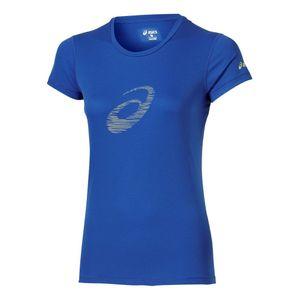 Mode- Lifestyle femme ASICS Graphic Ss Femme Tee-Shirt Running Bleu Asics