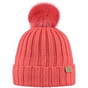 Ski fille BART'S BARTS-Bonnet rose corail coton et cashmere à pompon imitation fourrure du 4 au 12 ans modèle linda Barts