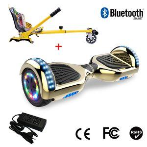 Glisse urbaine  COOL&FUN Cool&Fun Hoverboard 6.5 Pouces avec Bluetooth Doré/Or+ Hoverkart Hip, Gyropode Overboard Smart Scooter certifié, Pneu à LED de couleur, Kit kart