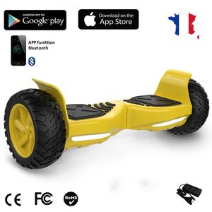 Glisse urbaine  EVERCROSS EVERCROSS Hoverboard Challenger G2 8.5 pouces,  Gyropode Overboard SUV Hummer Tout Terrain avec Bluetooth, Jaune