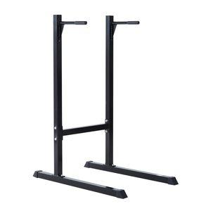 Musculation  HOMCOM Appareil abdominaux dips barres à dips Fitness poignées ergonomiques et pieds antidérapants acier noir neuf 46BK