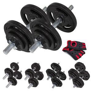 Musculation  HOP-SPORT Set d'halt?res courts en fonte 40 kg (2x20 kg)