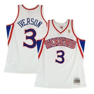 Basketball adulte MITCHELL & NESS Maillot NBA Allen Iverson Philadelphie Sixers 2000-01 Home Road Mitchell & ness Hardwood Classic swingman Blanc Taille - XL
