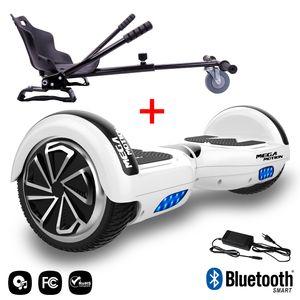 MEGA MOTION Mega Motion Hoverboard bluetooth 6.5 pouces, M1 Blanc + Hoverkart noir, Gyropode Overboard Smart Scooter certifié, Kit kart