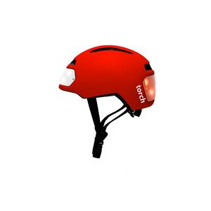 Vélo  TORCH Casque vélo urbain TORCH avec LED intégrées avant et arrière - rouge