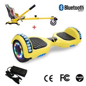 Glisse urbaine  COOL&FUN Cool&Fun Hoverboard 6.5 Pouces avec Bluetooth Jaune + Hoverkart Hip, Gyropode Overboard Smart Scooter certifié, Pneu à LED de couleur, Kit kart