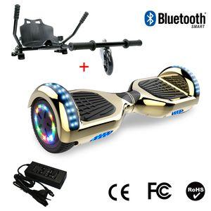 Glisse urbaine  COOL&FUN Cool&Fun Hoverboard 6.5 Pouces avec Bluetooth Doré/Or+ Hoverkart Noir, Gyropode Overboard Smart Scooter certifié, Pneu à LED de couleur, Kit kart