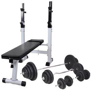 VIDAXL vidaXL Banc d'entraînement avec support de poids jeu d'haltères 120 kg