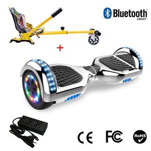 Glisse urbaine  COOL&FUN Cool&Fun Hoverboard 6.5 Pouces avec Bluetooth Argenté + Hoverkart Hip, Gyropode Overboard Smart Scooter certifié, Pneu à LED de couleur, Kit kart