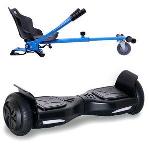 COOL&FUN Hoverboard 6,5 Pouces Overboard,Gyropode Scooter Electrique noir + Hoverkart Bleu, Gyropode Overboard certifié, Kit kart