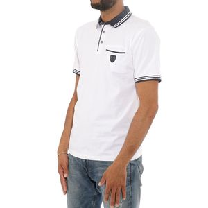 Mode- Lifestyle homme RMS26 Strech Chambray Homme Polo Blanc RMS26