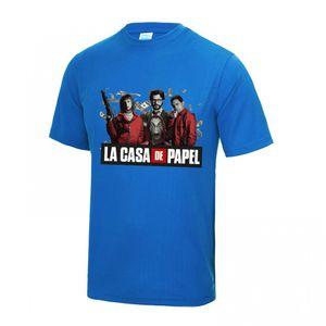 FASHION Maillot - Tee shirt Casa de Papel homme bleu royal  Taille XS à XL (Taille: S - couleur: bleu)