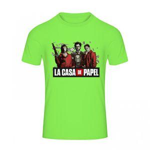 FASHION Maillot - Tee shirt Casa de Papel homme vert fluo  Taille XS à XL (Taille: S - couleur: vert)