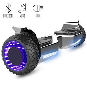 COOL&FUN Cool&Fun Hoverboard Hummer 6.5 Pouces, Gyropode SUV Tout-Terrain, avec Bluetooth et Roues lumineuses à LED, Argent Chromé