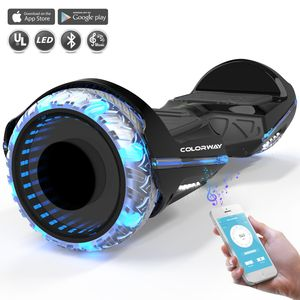 Colorway Hoverboard Colorway CX911 - Bluetooth + APP - 6.5 Pouces Noir, Gyropode Overboard Smart Scooter certifié