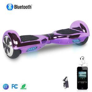 Glisse urbaine  COOL&FUN COOL&FUN Hoverboard Bluetooth 6.5 Pouces, Gyropode Overboard Certifié CE et ROHS, Violet Chromé