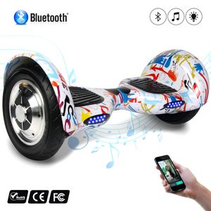 Glisse urbaine  COOL&FUN COOL&FUN Hoverboard 10 pouces avec Bluetooth, Gyropode  Overboard Smart Scooter, Graffiti